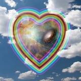 abstrakt vektor för regnbåge för bakgrundshjärtaillustration Royaltyfria Bilder