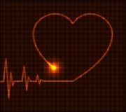 abstrakt vektor för cardiogramhjärtaillustration Arkivbild