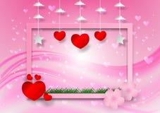 Abstrakt vektor med hjärtaform och ram på rosa bakgrund, begrepp för dag för valentin` s Royaltyfria Foton