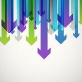 Abstrakt vektorbakgrund av olika färgpilar royaltyfri illustrationer