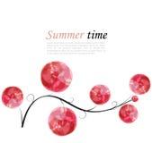 Abstrakt vektorbakgrund med filialen och ljusa rosa beståndsdelar Royaltyfri Foto