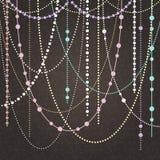 Abstrakt vektorbakgrund med hängande girlander och ljus royaltyfri illustrationer
