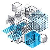 Abstrakt vektorbakgrund med isometriska linjer och former kub Arkivfoton