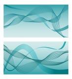 Abstrakt vektorbakgrund med krullade linjer wavy modell Blått- och turkostextur med vågor Arkivbilder
