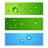 Abstrakt vektorbaneruppsättning med vattendroppar Arkivbild
