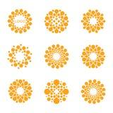 Abstrakt vektorcirkellogotyp Orange ovanlig kemilogouppsättning Virussymbol Orange solig sol Blomma Royaltyfri Foto