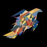 Abstrakt vektorfågel i färgrika stycken på svart bakgrund Royaltyfri Fotografi