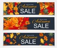 Abstrakt vektorillustration Autumn Sale Banner Background med Arkivfoton