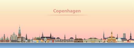 Abstrakt vektorillustration av Köpenhamnstadshorisont på soluppgång royaltyfri illustrationer