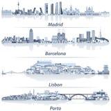 Abstrakt vektorillustration av Madrid, Barcelona, Lissabon och Porto stadshorisonter i ljus - blå färgpalett med vattenreflectio royaltyfri illustrationer