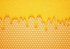 Abstrakt vektorillustration med sött flöde ner honung och honungskakor Läcker matbakgrund royaltyfri illustrationer