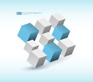 abstrakt vektorillustration Sammansättning av kuber 3d Bakgrundsdesign för banret, affisch, reklamblad, kort, räkning Royaltyfri Fotografi