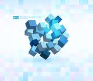 abstrakt vektorillustration Sammansättning av kuber 3d Bakgrundsdesign för banret, affisch, reklamblad, kort, räkning Arkivfoto