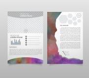 Abstrakt vektormalldesign, broschyr, webbplatser, sida, broschyr, med färgrika geometriska triangulära bakgrunder, logo och text vektor illustrationer