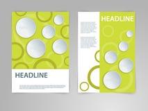 Abstrakt vektorreklamblad, affisch, tidskrifträkningsmall i storlek A4 med diagram för papper 3D Eco bio som är naturlig, gräspla Royaltyfri Bild