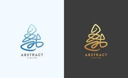 Abstrakt vektortecken, emblem eller Logo Template Guld- på en mörk bakgrund och versioner Arkivbild