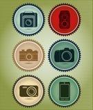 Abstrakt vektoruppsättning av symboler med evolutionen av kameran Arkivfoto