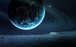 Abstrakt vetenskaplig bakgrund - planeter i utrymme, nebulosa och stjärnor Beståndsdelar av denna avbildar möblerat av NASAnasa g Arkivbilder