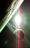Abstrakt vetenskaplig bakgrund - planeter i utrymme, nebulosa och stjärnor Beståndsdelar av denna avbildar möblerat av NASAnasa g Arkivfoto