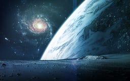Abstrakt vetenskaplig bakgrund - planeter i utrymme, nebulosa och stjärnor Beståndsdelar av denna avbildar möblerat av NASAnasa g Royaltyfri Fotografi