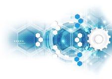 Abstrakt vetenskaplig framtida teknologibakgrund Geometripolygon Arkivfoton