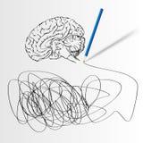 Abstrakt vetenskapsbakgrund med hjärnan. royaltyfri illustrationer