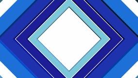 Abstrakt video bakgrund för intro eller för outro med att rotera blåa fyrkantiga beståndsdelar, sömlös öglasvideo med objekt 3d vektor illustrationer