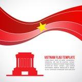 Abstrakt Vietnam flaggavåg och Ho Chi Minh - mausoleum Hanoi royaltyfri illustrationer