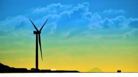 Abstrakt vindturbin på kust Arkivbilder