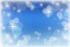 Abstrakt vinterbakgrund med frost och snö / Bokeh och stjärna Fotografering för Bildbyråer