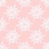 Abstrakt vit blomstrar på rosa sömlöst royaltyfri fotografi
