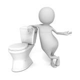 Abstrakt vit 3d Person With Toilet Fotografering för Bildbyråer