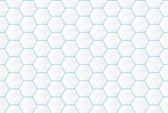 Abstrakt vit sömlös backgroud för sexhörningar och för blålinjen vektor illustrationer