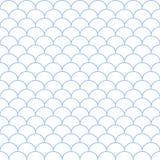 Abstrakt vit sömlös vågmodell för blått och Vektorillustrati Royaltyfri Fotografi