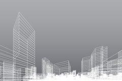 Abstrakt wireframestadsbakgrund Perspektivet 3D framför av byggnadswireframe vektor royaltyfri illustrationer
