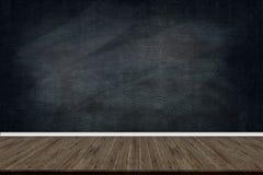 Abstrakt wood golvtextur och krita gned ut på svart tavla, för text eller teckning, utbildningsbegreppet, Royaltyfri Foto