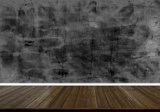 Abstrakt wood golvtextur och utskrivaven mörk betongväggtexturbakgrund Royaltyfria Bilder