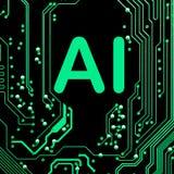 Abstrakt, zakończenie up Mainboard Elektronicznego komputeru tło sztuczna inteligencja, ai obrazy royalty free