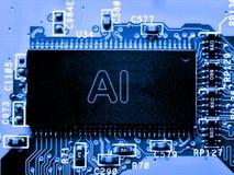 Abstrakt, zakończenie up Mainboard Elektronicznego komputeru tło sztuczna inteligencja, ai Zdjęcie Royalty Free