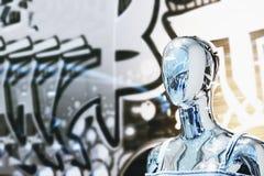 Abstrakt zamazująca Chrome mannequin portreta ludzka fotografia zdjęcia stock