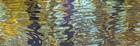 Abstrakt zamazujący odbicie jesienny kolor żółty opuszcza w stawie obrazy royalty free