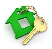 Abstrakt zieleni klucz na białym tle i dom zdjęcia stock