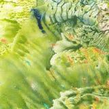 Abstrakt zielonej akwareli tekstury kolorowy tło Zdjęcia Stock