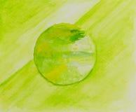 Abstrakt zielony i żółta akwarela malująca Tła lub pojęcia wizerunek Zdjęcia Royalty Free