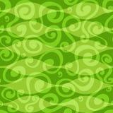 Abstrakt zielonych kwiecistych krzyw bezszwowy wzór Zdjęcia Royalty Free