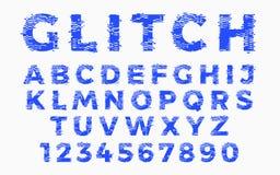 Abstrakt zniekształcająca usterki chrzcielnica Modny stylowy literowania typeface Stary telewizja ekranu wykoślawienie i cyfrowy  Zdjęcia Stock