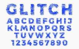 Abstrakt zniekształcająca usterki chrzcielnica Modny stylowy literowania typeface Stary telewizja ekranu wykoślawienie i cyfrowy  Fotografia Stock