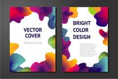 Abstrakta affischer med vätskemålarfärgbeståndsdelar Minsta bakgrundsuppsättning Släta former med vibrerande lutningar Arkivfoton