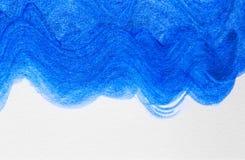 Abstrakta akrylowego obrazu sztuki falowa błękitna ręka rysujący kreatywnie plecy Zdjęcia Stock