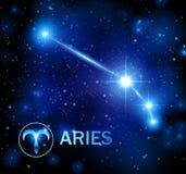 Abstrakta astronautyczny tło z gwiazdami i Aries gwiazdozbiorem royalty ilustracja